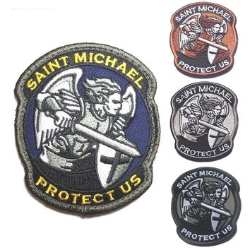 Modern Saint St MICHAE PROTECT US patches  hook&loop military  tactical USA army ACU Patches SWAT for jacket vest