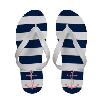 Pink Anchor on Navy Blue Nautical Stripes Flip-Flops from Zazzle.com