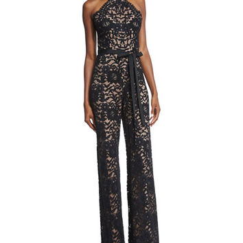 Alexis Rene Halter-Neck Lace Jumpsuit, Black