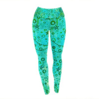 "Ebi Emporium ""Make A Wish II"" Teal Green Yoga Leggings"