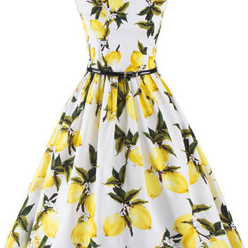 Lemon Printed Audrey Hepburn Style Dress Vintage 50s Style Rockabilly Inspired Swing Dress