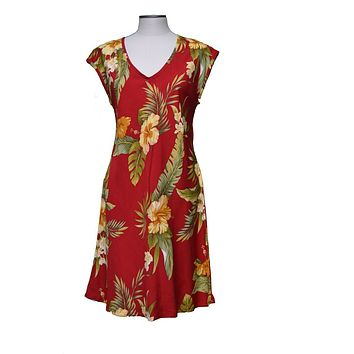 KY's Red Paradise Short Dress with Hibiscus and Plumeria