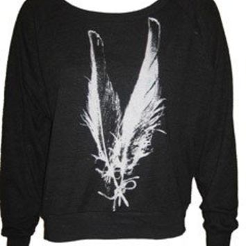 Two Feathers Art Print Ladies Raglan by UnknownArtistApparel