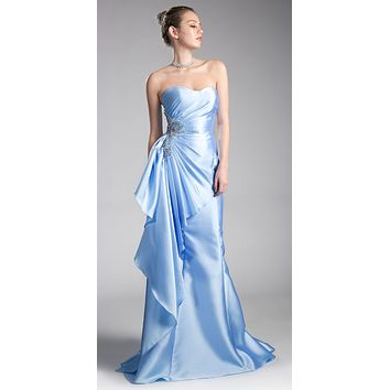 Sky Blue Strapless Mermaid Prom Gown Beaded with Side Ruffles