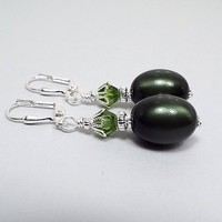 Dark Olive Green Earrings, Drop Dangle, Silver Plated, Made with Vintage Moonglow Lucite Beads, Glam Womens, Fall Jewelry, Lever Back Hook