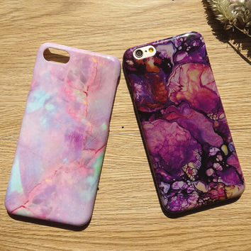 Tie-Dyed Marble Stone Case for iPhone 7 7Plus & iPhone se 5s 6 6 Plus Best Protection Cover +Gift Box