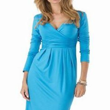 Sky Blue Elegant Dress V-neck Long Sleeve Work Office Party Slim Casual Mini