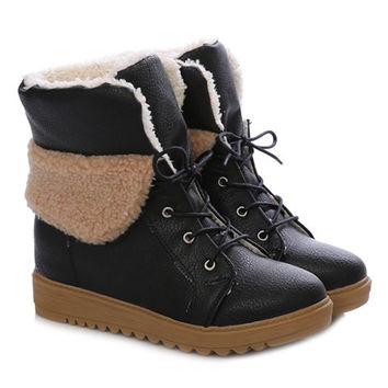 Fashionable Women's Short Boots With Round Toe and PU Leather Design