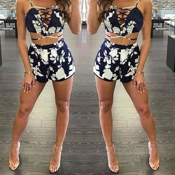 2 Piece Set Women Shorts and Top V Neck Patchwork Crop Top Shorts Elastic Waist Costume For Women