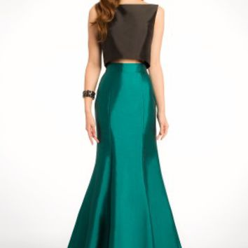 Two-Toned Taffeta Two Piece Dress