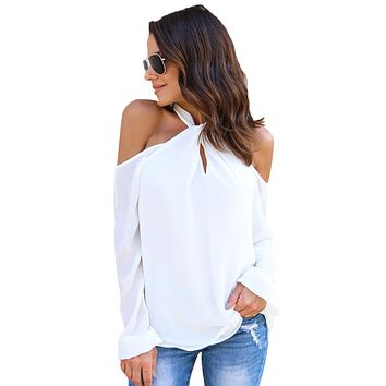 White Knot Neckline Cold Shoulder Long Sleeve Top