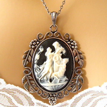 Ornate Black Cameo: Nymphs at the Alter of Zeus Black Cameo Necklace, Black and Ivory Neoclassical Cameo Jewelry,  Greek Mythology