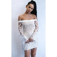 Disorderly Conduct Ivory Long Bell Sleeve Off the Shoulder Diamond Geometric Pattern Sequin Feather Bodycon Mini Dress