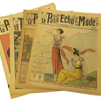 French Fashion Magazines. Art Deco Fashion Illustration. 1930sParis Fashion Revues. Le Petit Echo de la Mode.