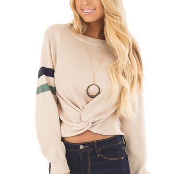 Beige Crop Sweater with Twist Front and Stripe Detail