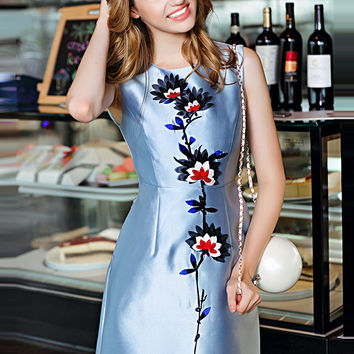 Blue Sleeveless Floral Embroidered Pockets A-Line Mini Dress