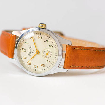 Rare face watch Pobeda Victory vintage, watch for men retro, dress watch unisex, classic USSR watch mechanical, new premium leather strap