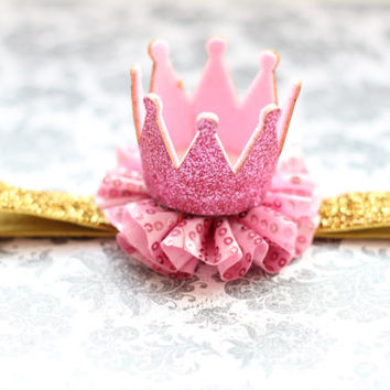 Adorable Pink and Gold Glitter Crown Headband for Baby Girl 0-12 Months Old First Birthday