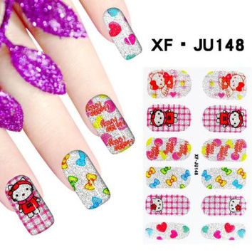 Hello Kitty Nail Stickers, Glitter Nail Decals, Cartoon Nail Wraps, Set of 12, Bonus Nail File / Emery Board, Red, Pink, Silver