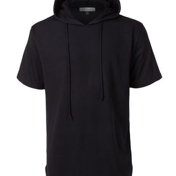 LE3NO Mens Lightweight Hipster Short Sleeve Hoodie Shirt with Adjustable Drawstring