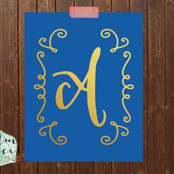 Royal Blue And Gold Foil Monogram Print  Letter Print  Gold Foil Print Gold Print  Dorm Decor  Inspirational Decor  Gold Poster  Print Decor