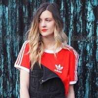 adidas Originals Red Three Stripe T-Shirt