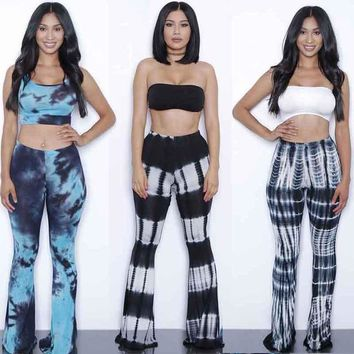 Summer Bodysuits Flare pants set jumpsuits 2 Pieces Suits tie dye gradient print rompers womens jumpsuit Outfits With Bra pad