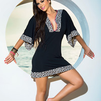 Leopard Trimmed Cover-Up