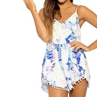 SUNNOW Womens Sexy Backless Floral Printed Loose Short Jumpsuit Romper
