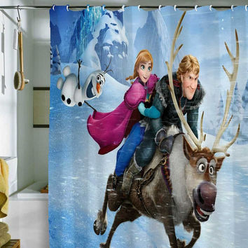 "frozen shower curtain by holidayshowercurtain size 36"" x 72"", 48"" x 72"", 60"" x 72"" , 66"" x 72"""