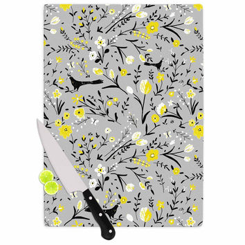 "Laura Nicholson ""Blackbirds On Gray"" Gray Yellow Cutting Board"