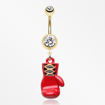 Golden Champ Red Boxing Glove Belly Button Ring