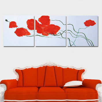 Unframed Red Flower Print Oil Painting Home Decor Wall Art Canvas Picture for Living Room with No Frame Modular-painting 3 Panel