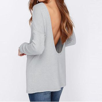 Fashion Solid Color Scoop Neck Backless Long Sleeve Loose blouse top