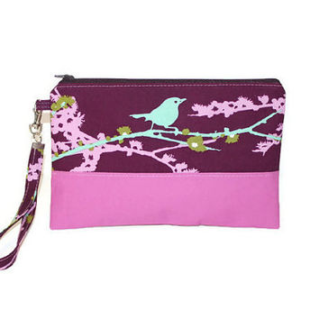 Purple sparrow print two-tone clutch, bridesmaid clutch, bridesmaid wristlet, bridal party gift, zipper pouch, tea party bag, girly clutch.
