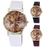 Fashion Women's World Map Leather Band Analog Quartz Wrist Watch = 1956526660