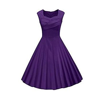 Classy Audrey Hepburn Style 1950s Vintage Rockabilly Swing Dress, Sizes Small - 2XLarge (Purple)