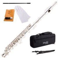 Mendini MPO-S Silver Plated Key of C Piccolo with Case, Joint Grease, Cleaning Cloth and Rod, and Gloves