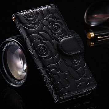 Hongmeng Camellia Flower Leather Case For iPhone 6 6S 7 8 Plus 5 5S SE Book Flip Stand Wallet Shell  back Cover