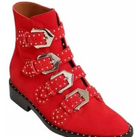 Red Leather Stud Buckle Detail Ankle Boots
