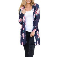 Long Sleeve Cardigan Floral Print Thin Coat Autumn Open Stitch Women Sweaters and Cardigans Pockets Long Coats