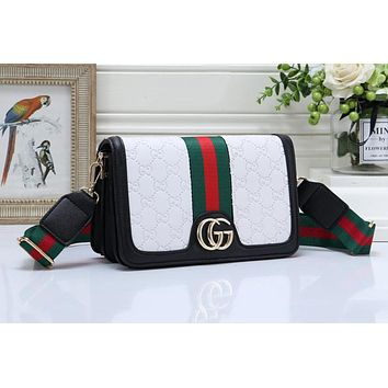 GUCCI Newest Women Shopping Bag Leather Crossbody Satchel Shoulder Bag White