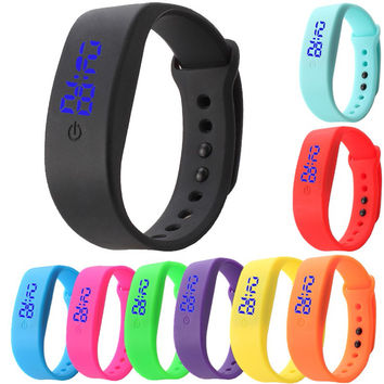 Date Sports Bracelet Digital Wrist Watch Womens Mens Rubber Touch Screen LED Watch Silicone Digital Wrist Watches Wristwatch