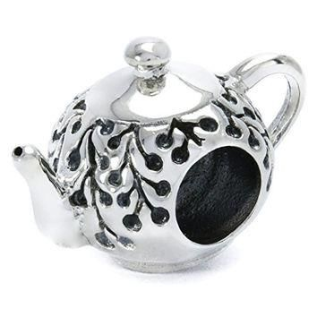 Bella Fascini Teapot Tea Party Charm Bead 925 Sterling Silver Fits Pandora and All Com