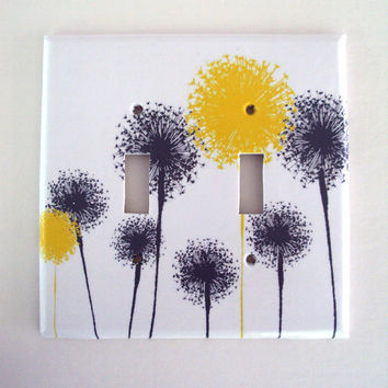 Yellow Gray Dandelion Switchplate Cover Orignal Art