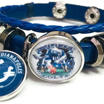 NFL Logo Horseshoe Game Face Blue Indianapolis Colts Bracelet Blue Leather Football Fan W/2 18MM - 20MM Snap Charms New Item