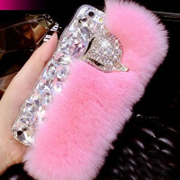 Bling Bling Crystal Rhinestones Soft Comfy Furry Case for iPhone