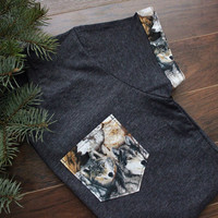 Wolf Women T-Shirt Pocket & Sleeves