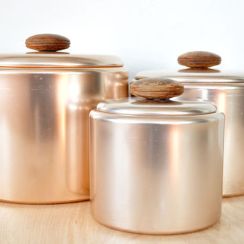 Vintage Pink Aluminum Mirro Kitchen Canister Set with Wood Handles, set of Thre