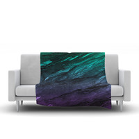 "Ebi Emporium ""Agate Magic - Green Plum Ombre"" Aqua Purple Fleece Throw Blanket"